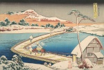 "— ""View of the Boat Bridge in Sano, in the province of Kozuka"" from the series ""Rare species of the famous Japanese bridges"", ХІХ century."