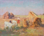 "— ""Landscape with Cows and stacks"", 1900s"