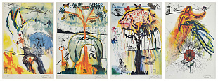 "Set of 4 lithographs from the series ""Alice in Wonderland"", 1987"