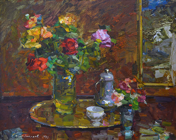 """Still life with roses on the background of the picture"", 1972"