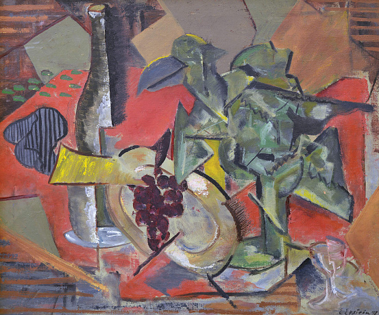 """Cubist still life with a bottle and grapes"", 1948"